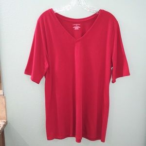 Lane Bryant Women's Red Perfect Sleeve Tee Shirt
